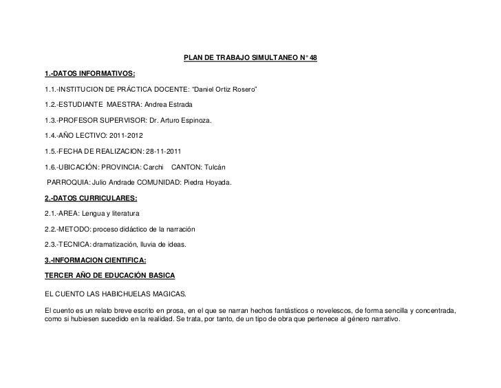 """PLAN DE TRABAJO SIMULTANEO N° 481.-DATOS INFORMATIVOS:1.1.-INSTITUCION DE PRÁCTICA DOCENTE: """"Daniel Ortiz Rosero""""1.2.-ESTU..."""