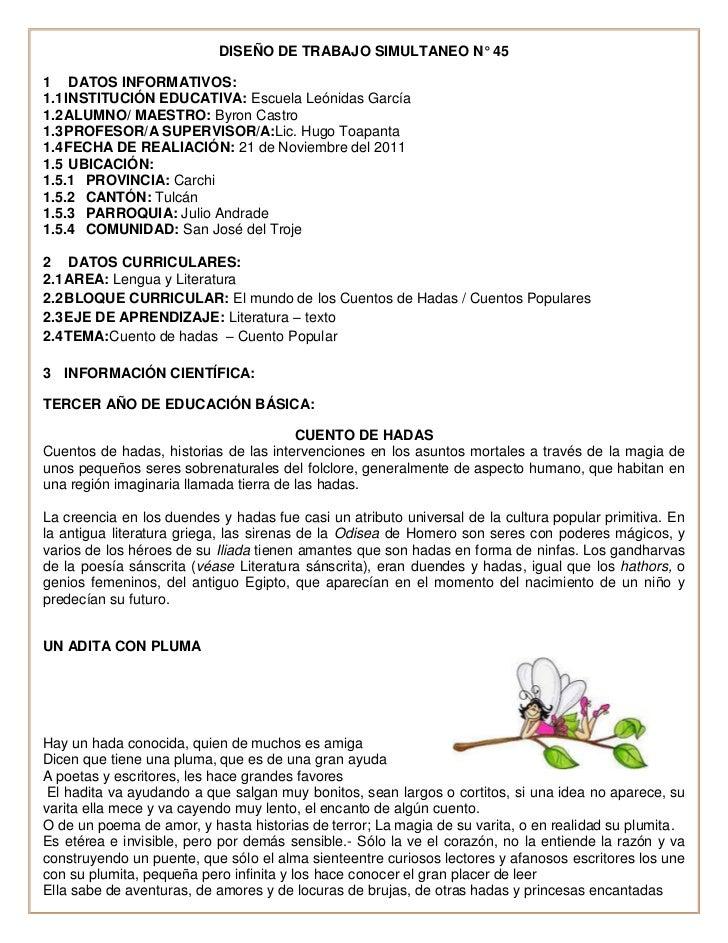 DISEÑO DE TRABAJO SIMULTANEO N° 451 DATOS INFORMATIVOS:1.1 INSTITUCIÓN EDUCATIVA: Escuela Leónidas García1.2 ALUMNO/ MAEST...