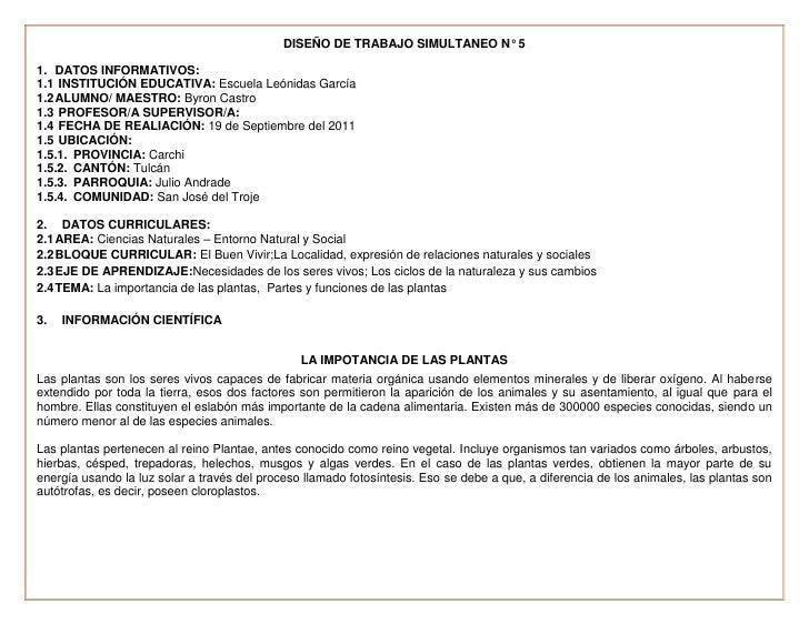 DISEÑO DE TRABAJO SIMULTANEO N° 5<br /> DATOS INFORMATIVOS:<br /> INSTITUCIÓN EDUCATIVA: Escuela  Leónidas García <br />AL...