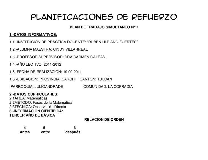 PLANIFICACIONES DE REFUERZO                                PLAN DE TRABAJO SIMULTANEO N° 71.-DATOS INFORMATIVOS:1.1.-INSTI...