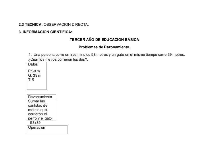 2.3 TECNICA: OBSERVACION DIRECTA.3. INFORMACION CIENTIFICA:                            TERCER AÑO DE EDUCACION BÁSICA     ...