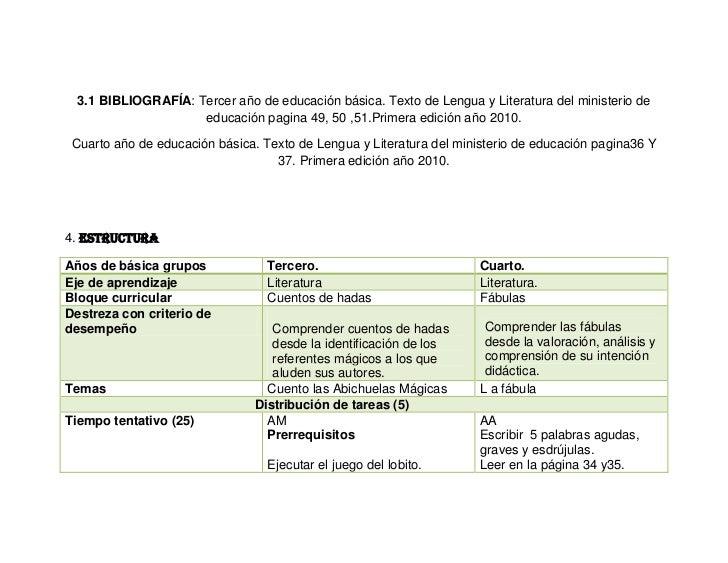 3.1 BIBLIOGRAFÍA: Tercer año de educación básica. Texto de Lengua y Literatura del ministerio de                    educac...