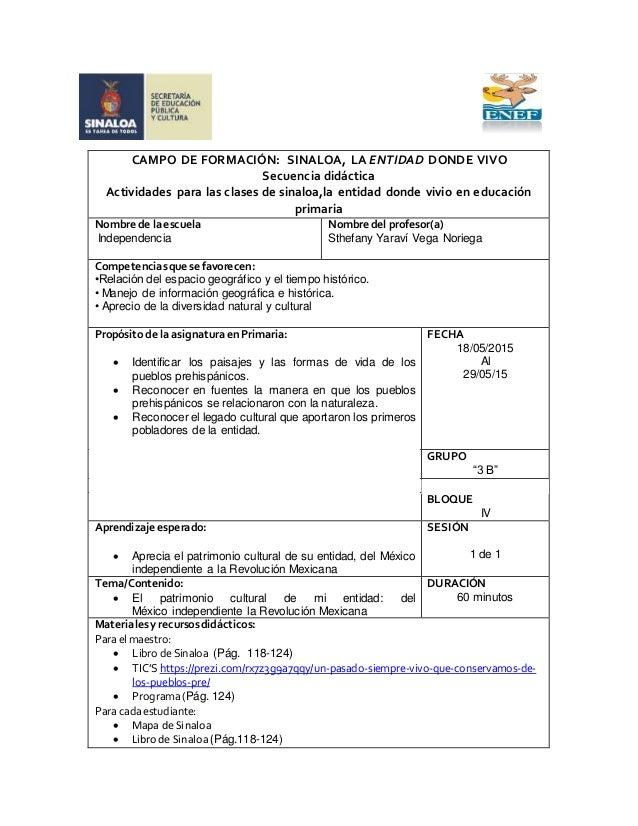 CAMPO DE FORMACIÓN: SINALOA, LA ENTIDAD DONDE VIVO Secuencia didáctica Actividades para las clases de sinaloa,la entidad d...