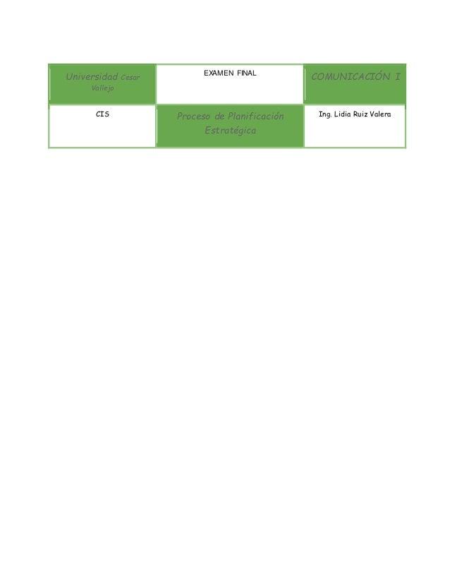 Universidad Cesar Vallejo EXAMEN FINAL COMUNICACIÓN I CIS Proceso de Planificación Estratégica Ing. Lidia Ruiz Valera