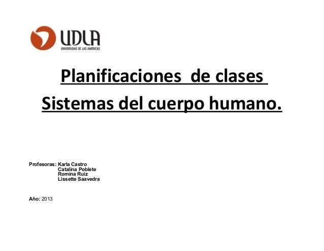 Planificaciones de clases Sistemas del cuerpo humano. Profesoras: Karla Castro Catalina Poblete Romina Ruiz Lissette Saave...