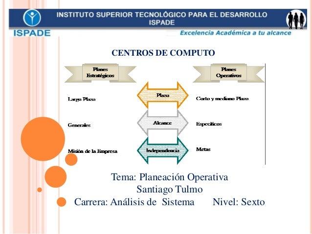 Tema: Planeación Operativa Santiago Tulmo Carrera: Análisis de Sistema Nivel: Sexto CENTROS DE COMPUTO