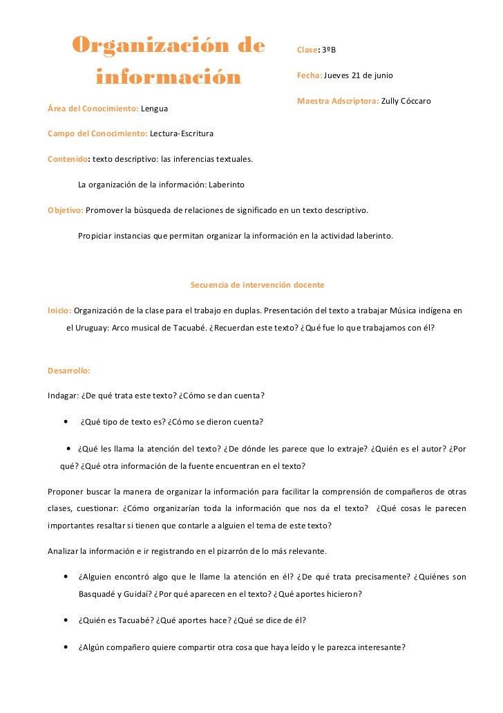 Organización de                                            Clase: 3ºB         información                                 ...