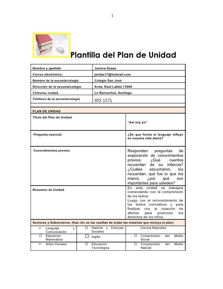 1                         Plantilla del Plan de UnidadNombre y apellido                       Javiera SuazoCorreo electrón...