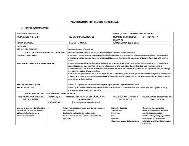 PLANIFICACION POR BLOQUE CURRICULAR1. DATOS INFORMATIVOSAREA: INFORMATICA GRADO/CURSO: PRIMERO BACHILLERATOPARALELOS: A, B...