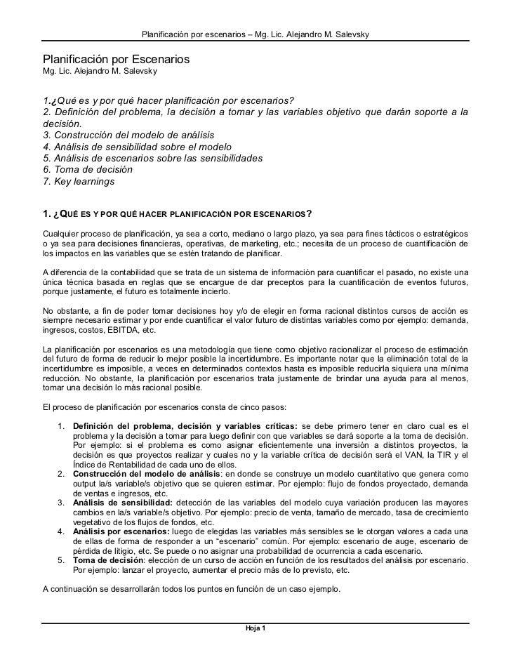 Planificación por escenarios – Mg. Lic. Alejandro M. SalevskyPlanificación por EscenariosMg. Lic. Alejandro M. Salevsky1.¿...