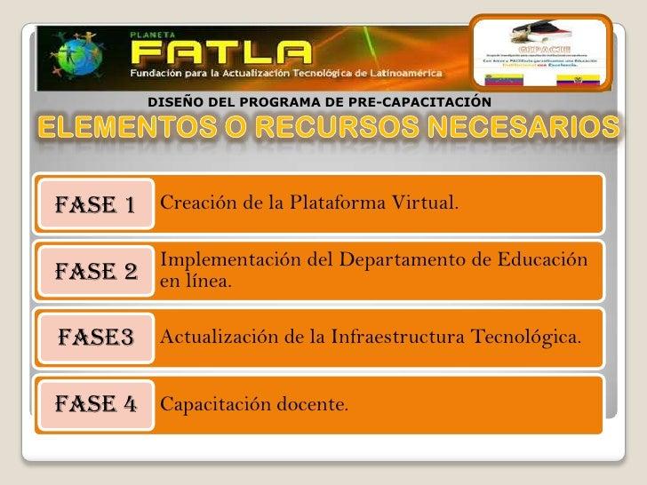DISEÑO DEL PROGRAMA DE PRE-CAPACITACIÓNFASE 1 Creación de la Plataforma Virtual.       Implementación del Departamento de ...
