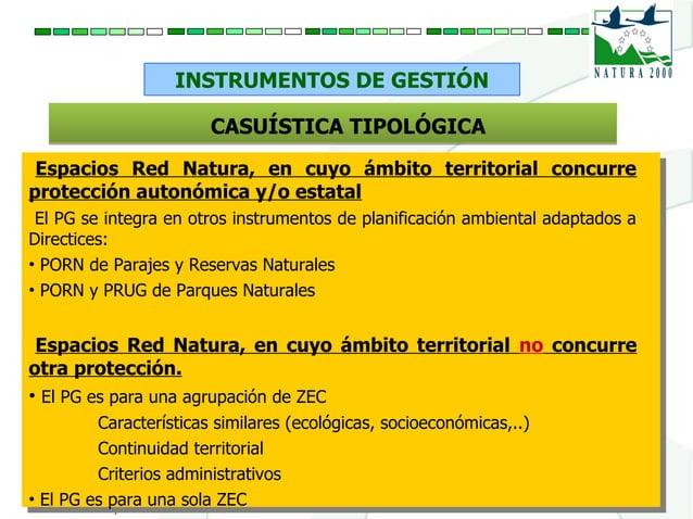 INSTRUMENTOS DE GESTIÓN Espacios Red Natura, en cuyo ámbito territorial concurre protección autonómica y/o estatal El PG s...