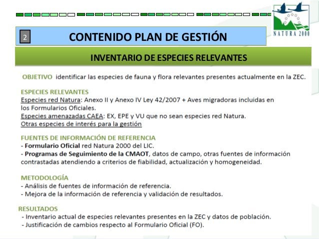 INVENTARIO DE ESPECIES RELEVANTESINVENTARIO DE ESPECIES RELEVANTES CONTENIDO PLAN DE GESTIÓNCONTENIDO PLAN DE GESTIÓN2