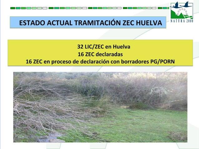 ESTADO ACTUAL TRAMITACIÓN ZEC HUELVAESTADO ACTUAL TRAMITACIÓN ZEC HUELVA 32 LIC/ZEC en Huelva 16 ZEC declaradas 16 ZEC en ...