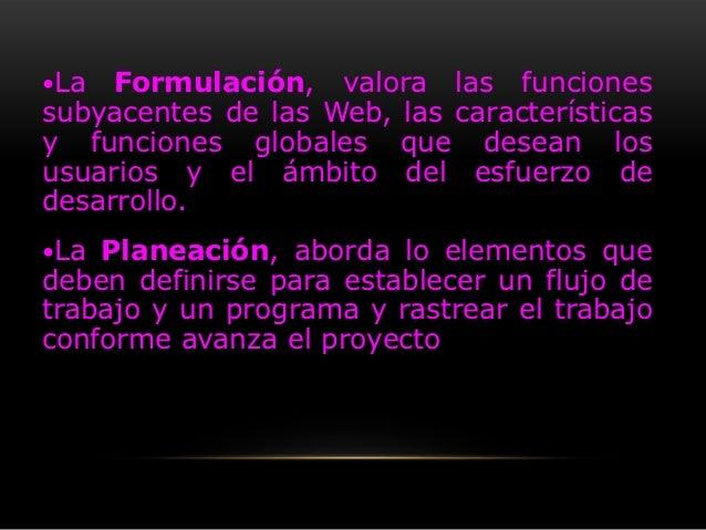 La  Formulación, valora las funcionessubyacentes de las Web, las característicasy funciones globales que desean losusuari...