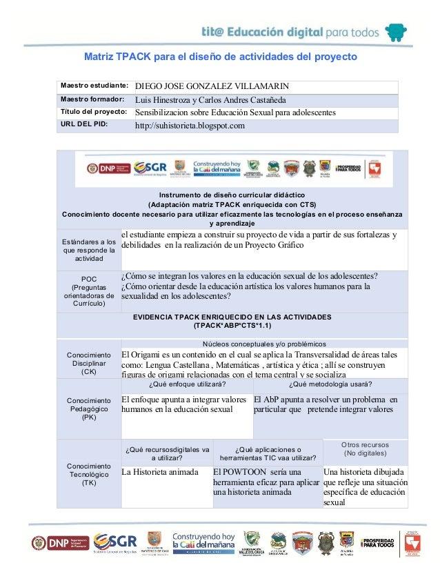 Matriz TPACK para el diseño de actividades del proyecto Maestro estudiante: DIEGO JOSE GONZALEZ VILLAMARIN Maestro formado...
