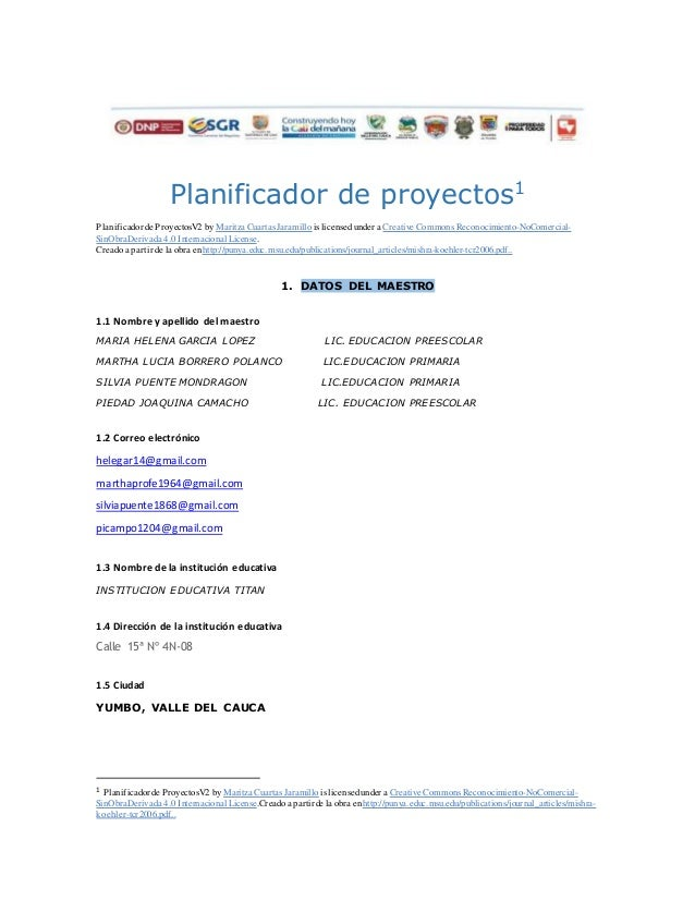 Planificador de proyectos1 Planificadorde ProyectosV2 by Maritza Cuartas Jaramillo is licensedunder a Creative Commons Rec...
