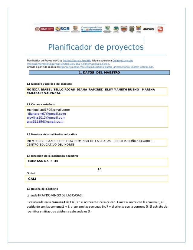 i Planificador de proyectos Planificador de ProyectosV2 by Maritza Cuartas Jaramillo islicensedunder a CreativeCommons Rec...