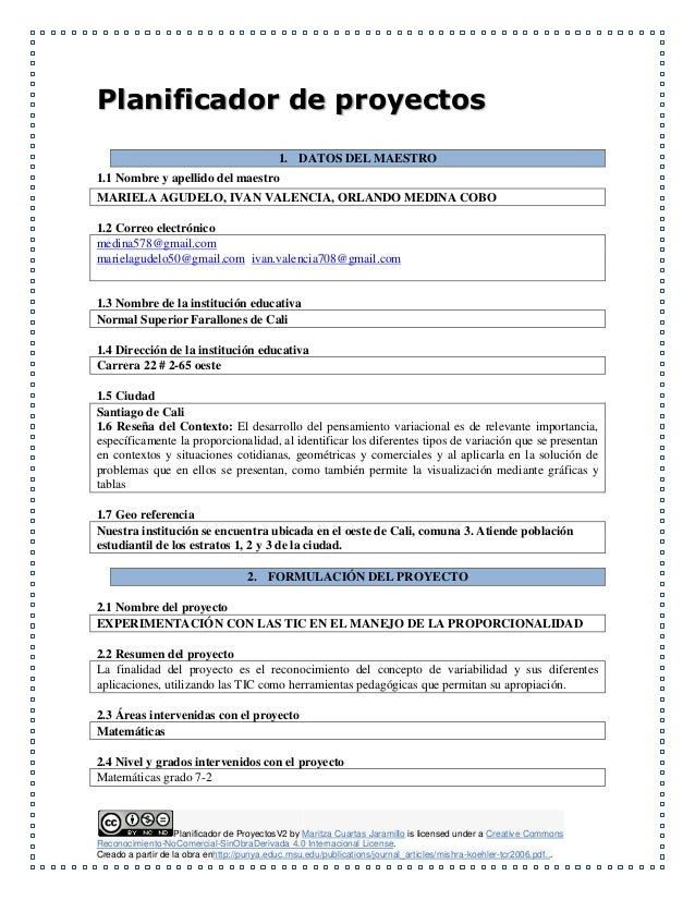 Planificador de ProyectosV2 by Maritza Cuartas Jaramillo is licensed under a Creative Commons Reconocimiento-NoComercial-S...