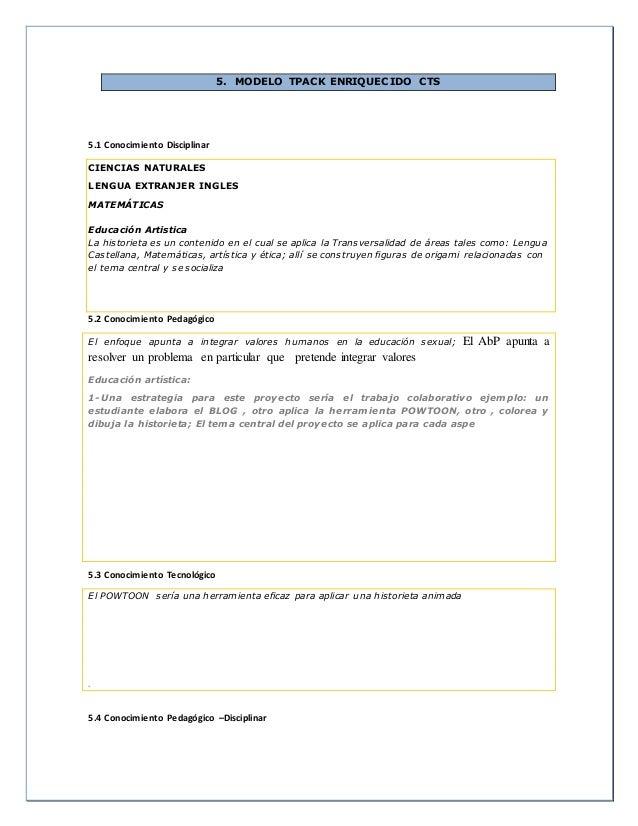 5. MODELO TPACK ENRIQUECIDO CTS 5.1 Conocimiento Disciplinar CIENCIAS NATURALES LENGUA EXTRANJER INGLES MATEMÁTICAS Educac...
