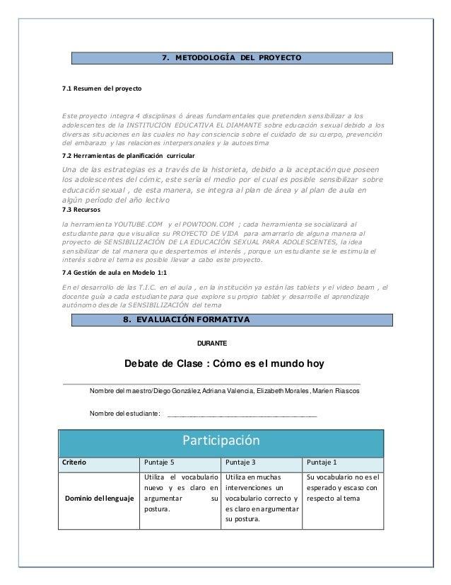 7. METODOLOGÍA DEL PROYECTO 7.1 Resumen del proyecto Este proyecto integra 4 disciplinas ó áreas fundamentales que pretend...