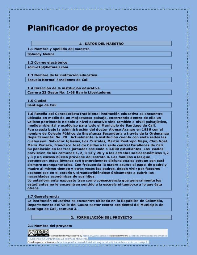 Planificador de ProyectosV2 by Maritza Cuartas Jaramillo islicensedunder a CreativeCommons Reconocimiento- NoComercial-Sin...