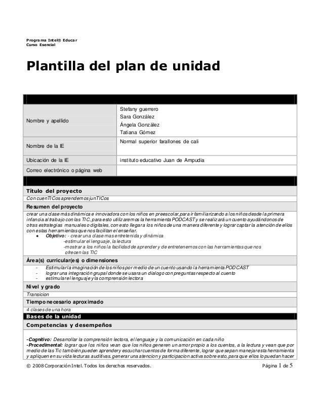 Programa Intel® Educar Curso Esencial © 2008 Corporación Intel. Todos los derechos reservados. Página 1 de 5 Plantilla del...