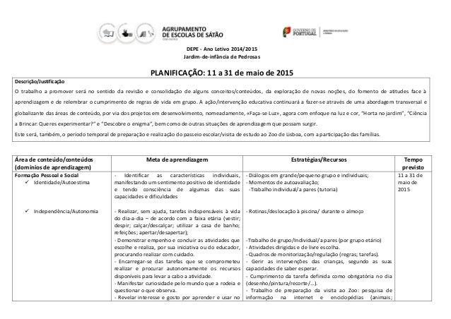 DEPE - Ano Letivo 2014/2015 Jardim-de-infância de Pedrosas PLANIFICAÇÃO: 11 a 31 de maio de 2015 Descrição/Justificação O ...