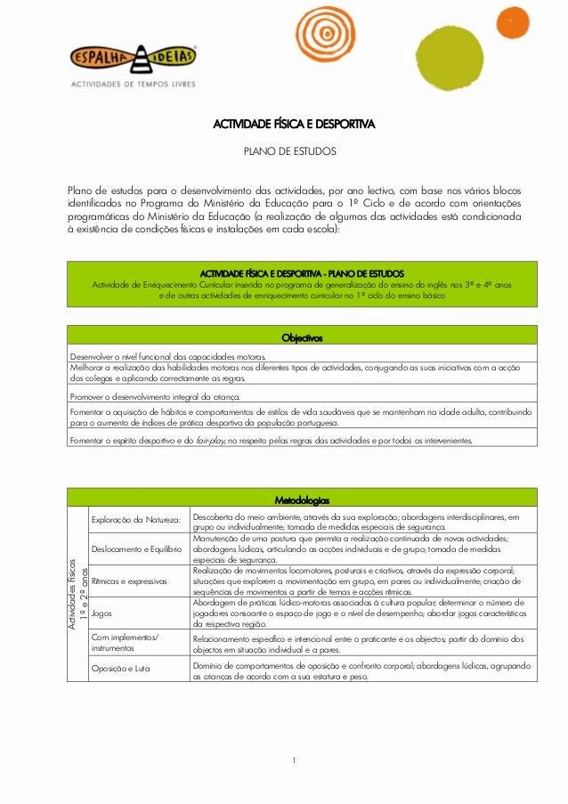 ACTIVIDADE FÍSICA E DESPORTIVA                                                                PLANO DE ESTUDOS Plano de es...
