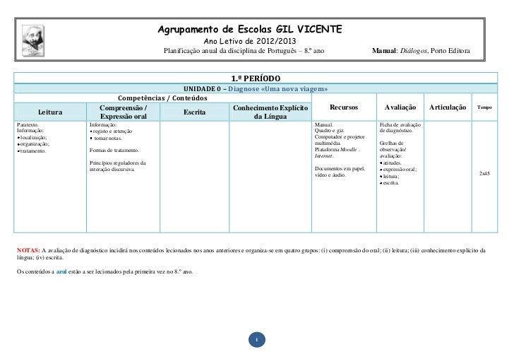 Agrupamento de Escolas GIL VICENTE                                                                           Ano Letivo de...
