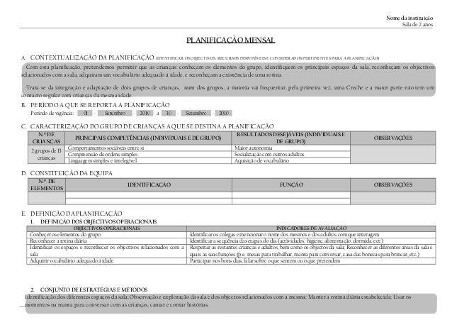 Nome da instituição Sala de 2 anos PLANIFICAÇÃO MENSAL A. CONTEXTUALIZAÇÃO DA PLANIFICAÇÃO (IDENTIFICAR OS OBJECTIVOS, REC...