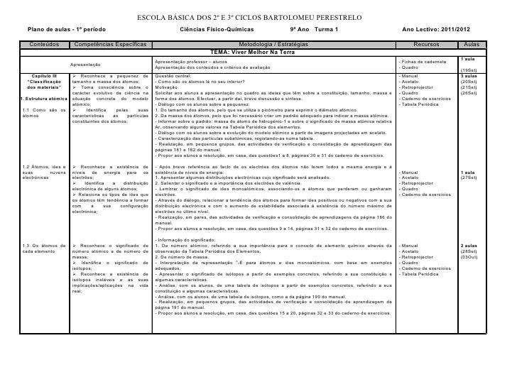 ESCOLA BÁSICA DOS 2º E 3º CICLOS BARTOLOMEU PERESTRELO   Plano de aulas - 1º período                                      ...
