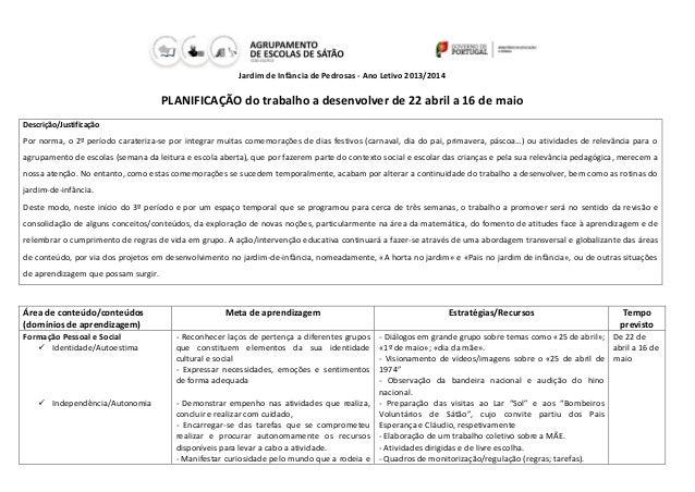 Jardim de Infância de Pedrosas - Ano Letivo 2013/2014 PLANIFICAÇÃO do trabalho a desenvolver de 22 abril a 16 de maio Desc...