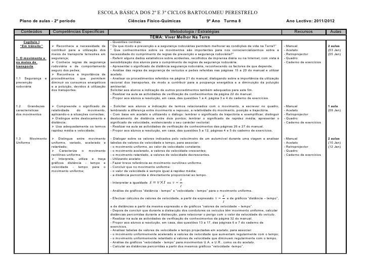 ESCOLA BÁSICA DOS 2º E 3º CICLOS BARTOLOMEU PERESTRELO  Plano de aulas - 2º período                                       ...