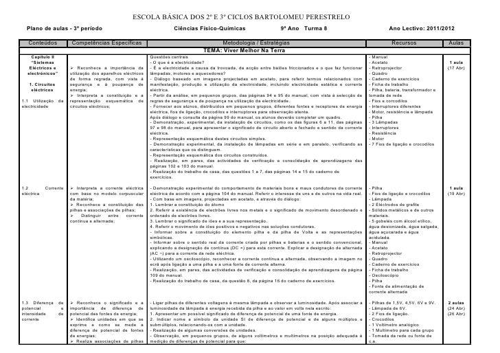 ESCOLA BÁSICA DOS 2º E 3º CICLOS BARTOLOMEU PERESTRELO  Plano de aulas - 3º período                                       ...
