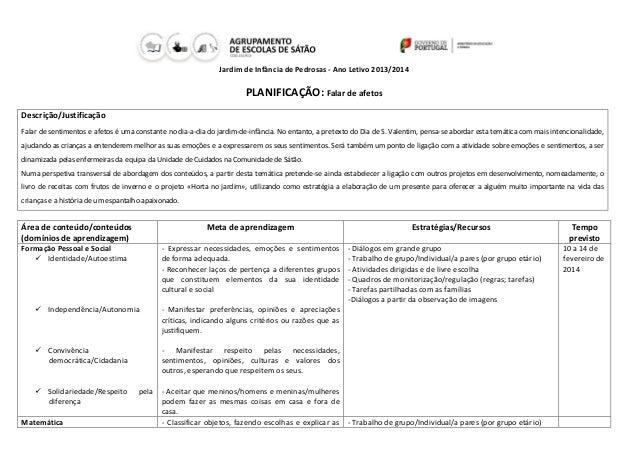 Jardim de Infância de Pedrosas - Ano Letivo 2013/2014  PLANIFICAÇÃO: Falar de afetos Descrição/Justificação Falar de senti...