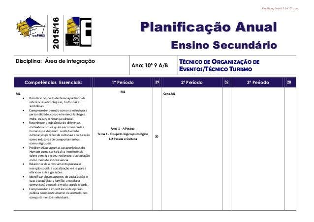 PlanificaçãoAI 15.16 10º ano 22001155//1166 PPllaanniiffiiccaaççããoo AAnnuuaall EEnnssiinnoo SSeeccuunnddáárriioo Discipli...