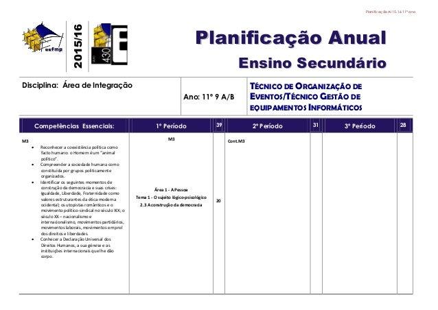PlanificaçãoAI 15.16 11º ano 22001155//1166 PPllaanniiffiiccaaççããoo AAnnuuaall EEnnssiinnoo SSeeccuunnddáárriioo Discipli...