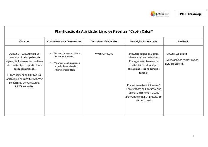 """PIEF Amareleja                                               Planificação da Atividade: Livro de Receitas """"Cabén Calon""""   ..."""