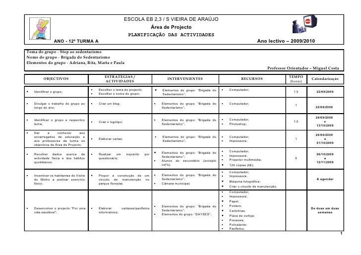 ESCOLA EB 2,3 / S VIEIRA DE ARAÚJO                                                                          Área de Projec...