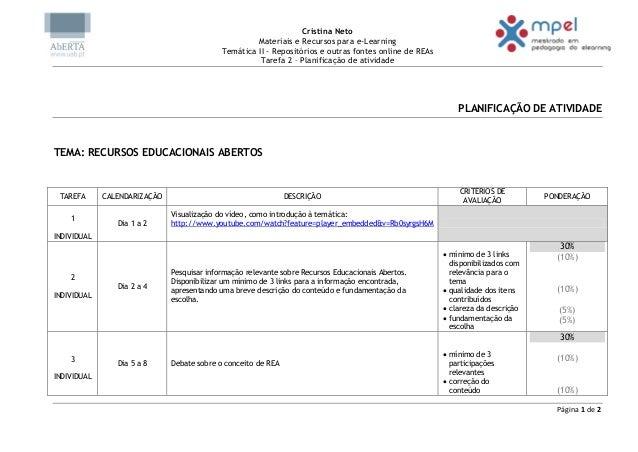 Cristina NetoMateriais e Recursos para e-LearningTemática II - Repositórios e outras fontes online de REAsTarefa 2 – Plani...