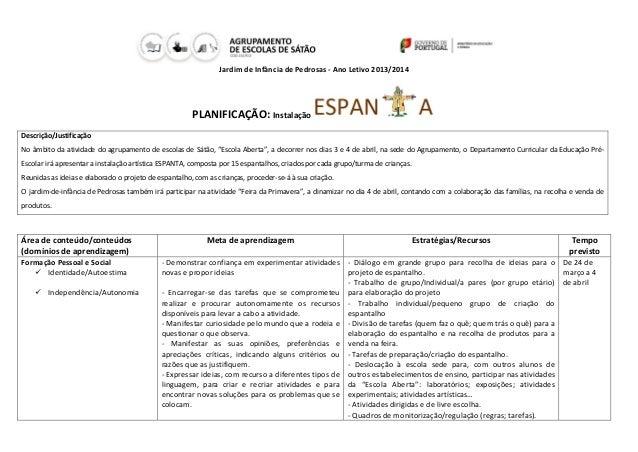 Jardim de Infância de Pedrosas - Ano Letivo 2013/2014 PLANIFICAÇÃO: Instalação Descrição/Justificação No âmbito da ativida...