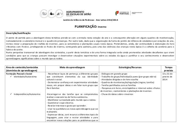 Jardim de Infância de Pedrosas - Ano Letivo 2013/2014  PLANIFICAÇÃO: Inverno Descrição/Justificação O ponto de partida par...
