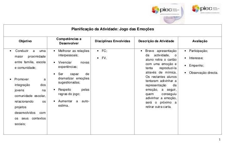 Planificação da Atividade: Jogo das Emoções                                 Competências a         Objetivo               ...
