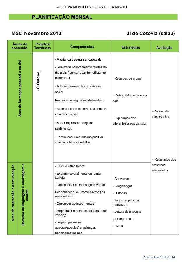 AGRUPAMENTO ESCOLAS DE SAMPAIO  PLANIFICAÇÃO MENSAL Mês: Novembro 2013 Projetos/ Temáticas  Competências  Estratégias  Ava...