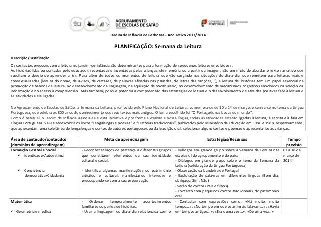Jardim de Infância de Pedrosas - Ano Letivo 2013/2014  PLANIFICAÇÃO: Semana da Leitura Descrição/Justificação Os contactos...