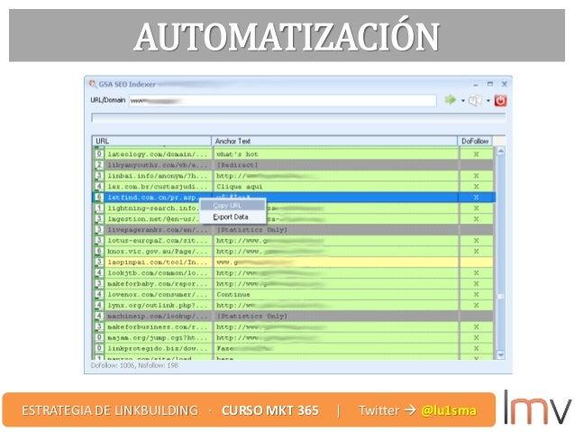 AUTOMATIZACIÓN ESTRATEGIA DE LINKBUILDING · CURSO MKT 365 | Twitter  @lu1sma