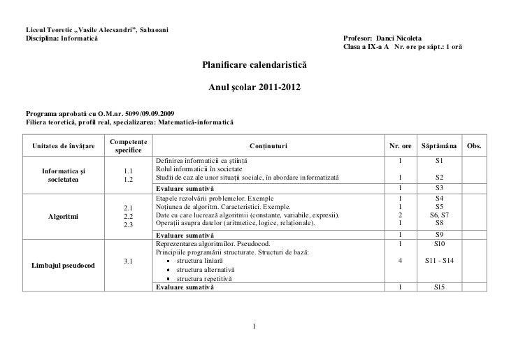 "Liceul Teoretic ""Vasile Alecsandri"", SabaoaniDisciplina: Informatică                                                      ..."