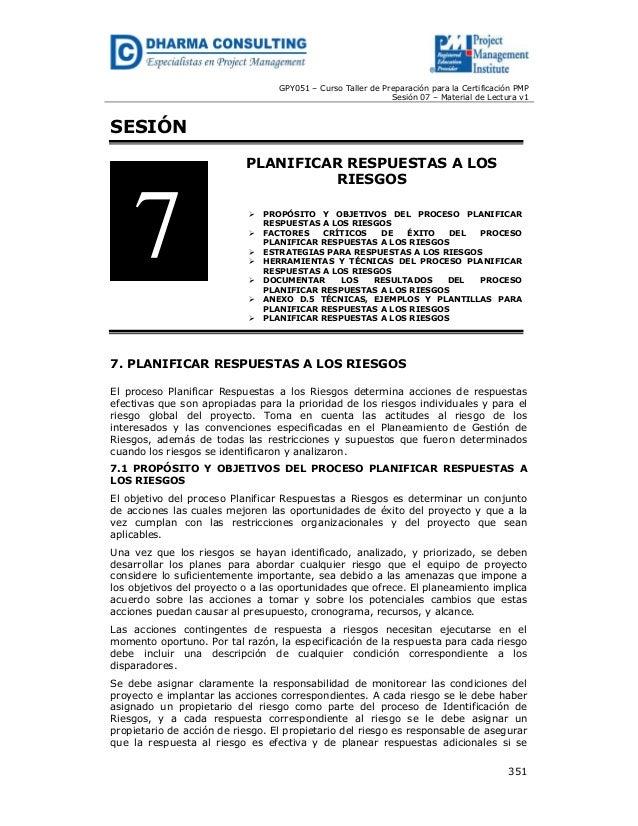 GPY051 – Curso Taller de Preparación para la Certificación PMP Sesión 07 – Material de Lectura v1  SESIÓN PLANIFICAR RESPU...