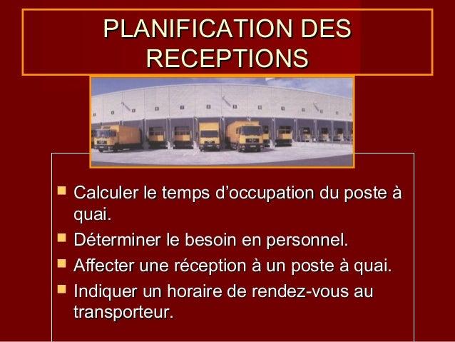 PLANIFICATION DES RECEPTIONS       Calculer le temps d'occupation du poste à quai. Déterminer le besoin en personnel. ...